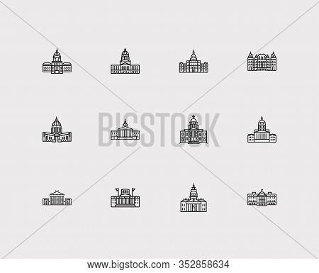 America Icons Set. Arizona State Capitol And America Icons With Michigan State Capitol, Montana Stat