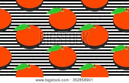 Seamless Background With Black Stripes And Mandarins And Leaves With Dark Shadow. Vector Illustratio