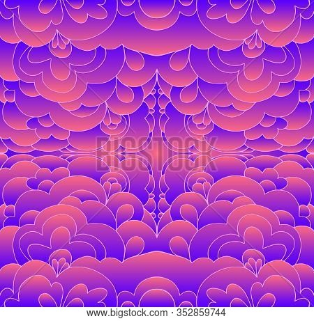 Glowing Psychedelic Trippy Abstract Pattern. Gradient Neon Blue Violet Pink Color.