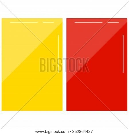 Football Red And Yellow Card Vector Set Isolated On White Background. Flat Design Cartoon Style Socc