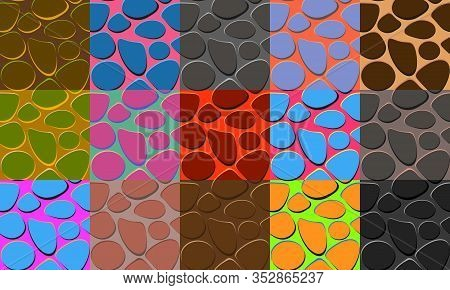 Colorful Collection Of Seamless Pattern With Paving Stones Or Lizard Skin. Cartoon Style Vector Text