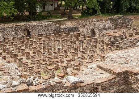 Ruins Of Ancient Thermal Baths In Archaeological Park Of Dion, Greece