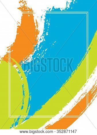 Vertical Frame With Paint Brush Strokes Background.  Advert Design Template For Card. Vector Border
