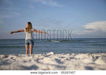 Relaxed Beach Woman