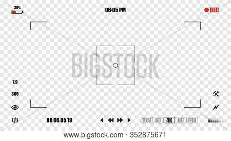 Camera Frame Viewfinder Screen Of Video Recorder Digital Display With Settings. Modern Digital Video