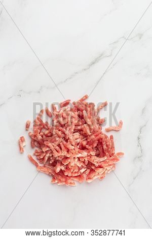 Top View Of Raw Minced Beef Meat Isolated On White. Minced Meat, Pork, Beef, Forcemeat, Clipping Pat