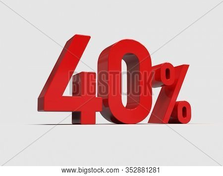 3d Render: 40% Off Discount Promotion Sale Sign Made of Realistic 3d Red Numbers