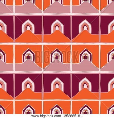 Architectural Buildings Vector Seamless Pattern. Paper Cut Style Collage Background. House Archway F