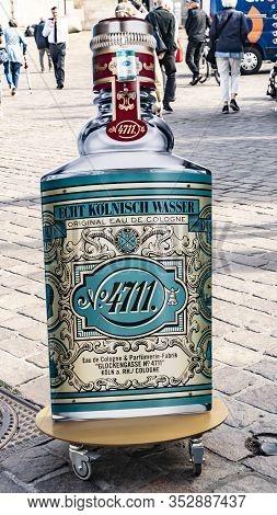 Trier, Germany - September 13, 2019: 4711 Store Logo Big Advertising Bottle. 4711 Brand. Trier Perfu
