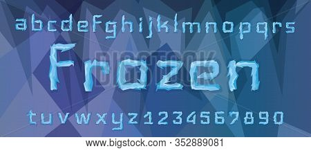 Ice Blue Font, Alphabet With Word Frozen. All Letters And Numbers