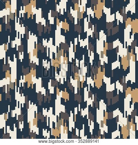 Spliced Vector Stripe. Geometric Variegated Background. Seamless Camo Ikat Pattern With Woven Broken