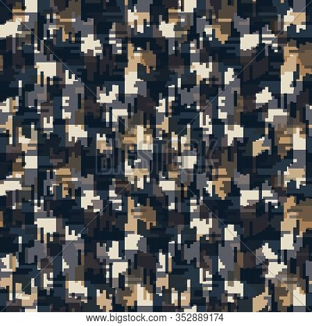 Spliced Vector Geo Texture. Geometric Variegated Background. Seamless Camo Pattern With Woven Broken