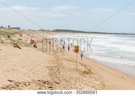 Sydney, Australia 2020-02-15 People Sunbathing And Swimming On Wanda Beach, Cronulla. Dangerous Curr