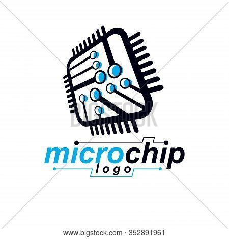 Vector Abstract Technology Monochrome Circuit Board. High Tech Digital Square Scheme Of Electronic D