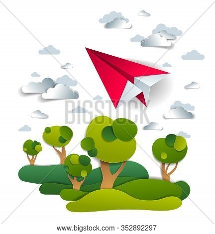 Origami Paper Plane Toy Flying In The Sky Over Meadows And Trees, Perfect Vector Illustration Of Sce