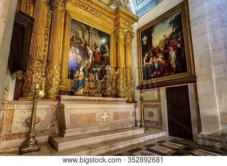 Lisbon - August 30, 2019: View Of The Chapel Of The Holy Family, Built In 1634 Inside The Jesuit Chu