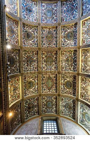 Lisbon - August 30, 2019: View Of The Magnificent Ceiling Of The Sacristy Room Of The Jesuit Church