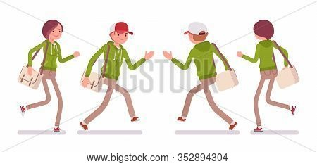 Young Man And Woman Wearing A Hoodie Jacket Running. Cute Smart People In Casual Green Hoody, Youth