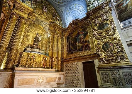 Lisbon - August 30, 2019: View Of The Chapel Of Saint Anthony Inside The Jesuit Church Of Saint Roch
