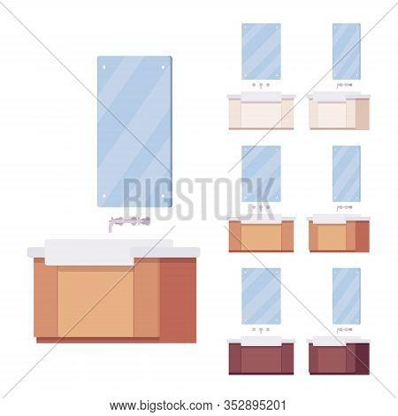 Bathroom Vanity, Washstand Sink Cabinet With Mirror, Bottom Drawer. Wall Mount Installation For Rest