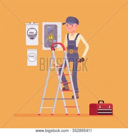 Electrician Man, Working To Install, Maintain Electrical Equipment. Male Handsome Worker Providing E