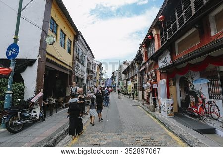Tourist Visiting Old Street At Georgetown To Enjoy Traditional And Heritage Attractions Place