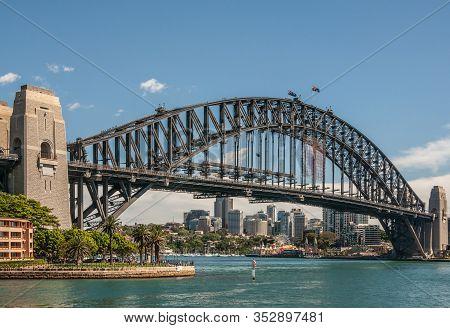 Sydney, Australia - December 11, 2009: Harbour Bridge, Full Metal Span, Bow And Stone Anchor Towers