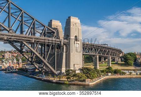 Sydney, Australia - December 11, 2009: Harbour Bridge Anchor Towers In Green Park. Luna Park Attract
