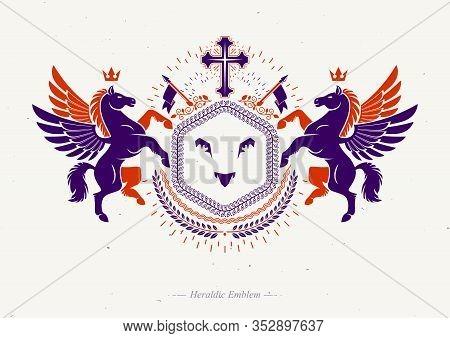 Vector Emblem Created In Vintage Heraldic Design. Retro Style Label Composed Using Mythic Pegasus, R