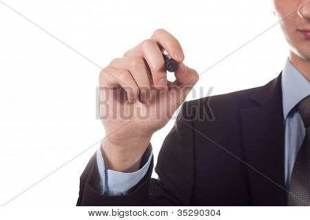 man writing on the screen isolated white
