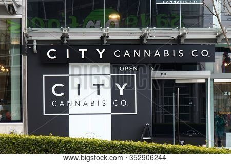 Vancouver, Canada - February 17,2020: A View Of Entrance Popular Cannabis Dispensary Store