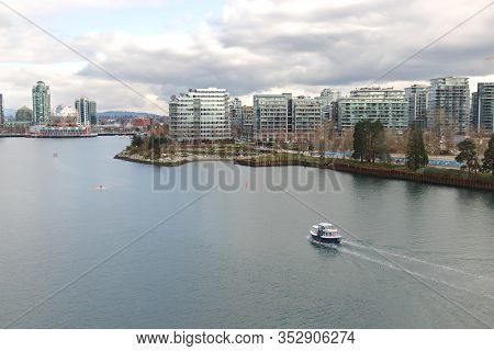 Vancouver, Canada - February 17, 2020: False Creek Ferry Is Serving False Creek And The Surrounding