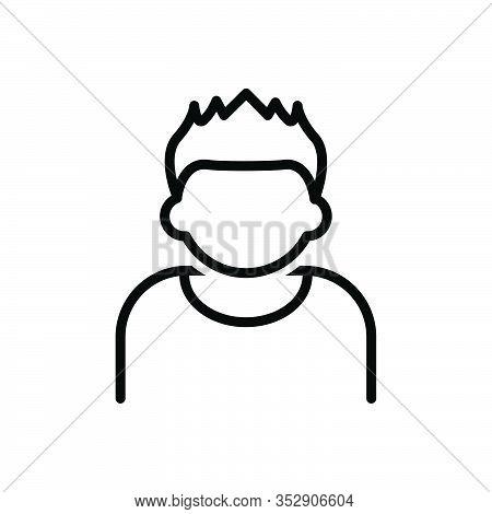 Black Line Icon For Hair Skin Scalp Style Hormone Anatomy Hygiene Boy Model Hairstyle Short