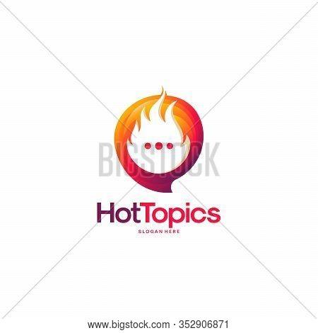 Elegant Hot Topics Logo Template, Hot News Logo Designs Vector, Spirit Discuss Logo Emblem