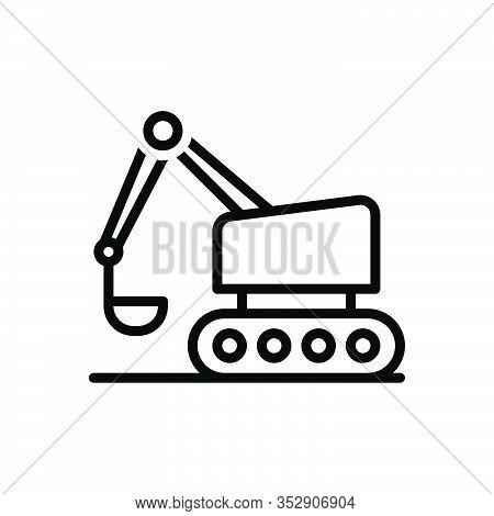 Black Line Icon For Bulldozer Excavator Road-roller Crawler  Backhoe Build Equipment Mini Machinery