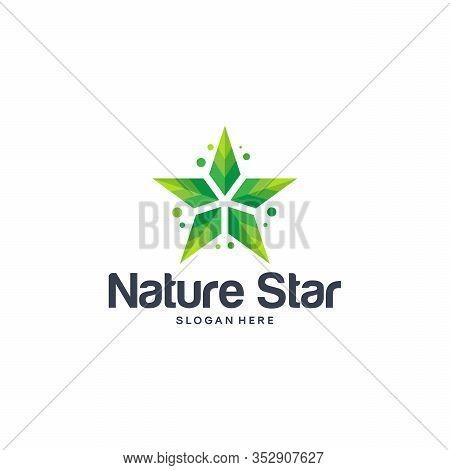 Shiny Nature Logo, Shiny Leaf Logo, Shiny Farm Logo, Nature Star Symbol Template Vector Illustration