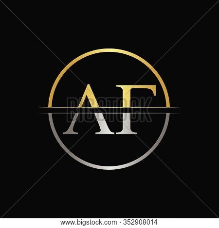 Initial Circle Af Letter With Modern Typography Vector Template. Creative Abstract Letter Af Logo De