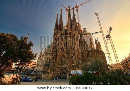 BARCELONA SPAIN - FEBRUARY 25: Sagrada Familia on February 25 2012: La Sagrada Familia - the impressive cathedral designed by Gaudi which is being build since 19 March 1882 and is not finished yet. poster