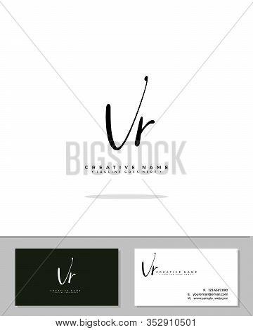 V R Vr Initial Logo Signature Vector. Handwriting Concept Logo.