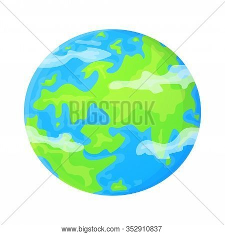 Flat Earth Template In Cartoon Style. World Environment Concept. Cute Vector Illustration Isolated O