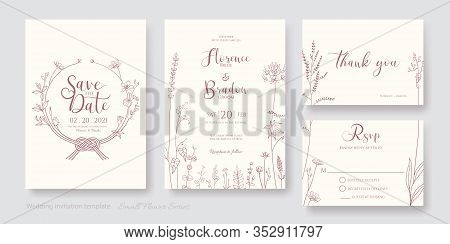 Set Of Floral Wedding Invitation Card, Save The Date, Thank You, Rsvp Template. Vector. Flower Line