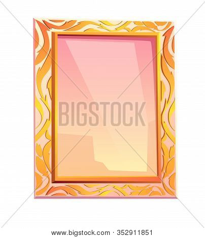 Royal Mirror In Golden Frame Isolated On White Background. Vector Cartoon Vintage Rectangle Mirror W