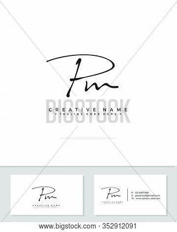 P M Pm Initial Logo Signature Vector. Handwriting Concept Logo.