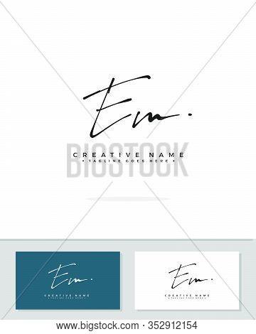 E M Em Initial Logo Signature Vector. Handwriting Concept Logo.