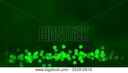 St. Patricks Day Green Leaves Background. Patrick Day Backdrop With Shamrock Leaf Pattern. For Festi