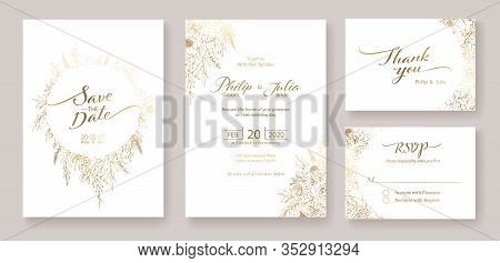 Gold Wedding Invitation, Save The Date, Thank You, Rsvp Card Design Template. Vector. Winter Flower,