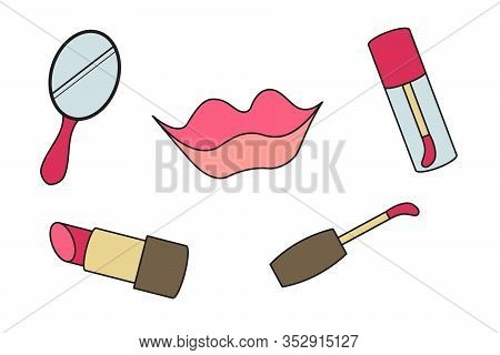 Makeup Lip Doodle Icons. Vector Illustration. Mirror, Lipstick Gloss
