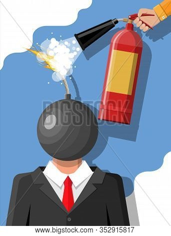 Stressed Out Businessman With Head Of Bomb Gets Help From Man With Extinguisher. Overworked Man With