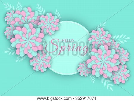 Beautiful Spring Background. Gerbera Flower Background and Spring is coming Lettering. Spring floral banner with paper cut blooming pink cherry flowers on blue background for seasonal design of spring banner,spring flyer, spring poster,spring web site. Ve