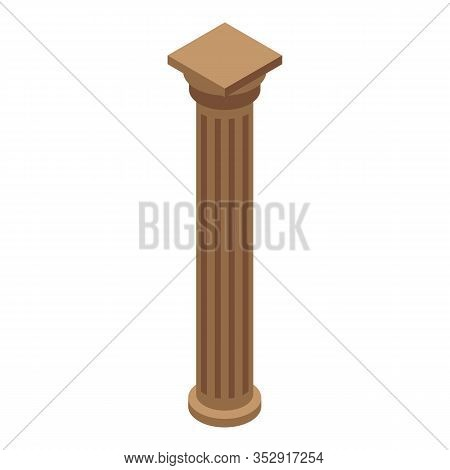 Brown Pillar Icon. Isometric Of Brown Pillar Vector Icon For Web Design Isolated On White Background
